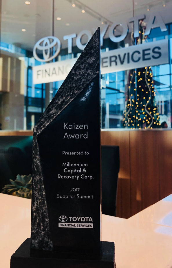 Toyota Financial Services awarded the Kaizen Award to Millennium Capital and Recovery Corporation for its continuous innovation and commitment to the pursuit of excellence in the recovery sector at its 2017 Supplier Summit.